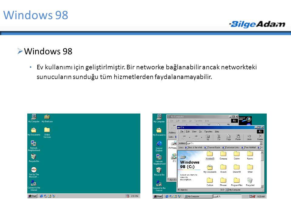 Windows 98  Windows 98 Ev kullanımı için geliştirlmiştir. Bir networke bağlanabilir ancak networkteki sunucuların sunduğu tüm hizmetlerden faydalanam