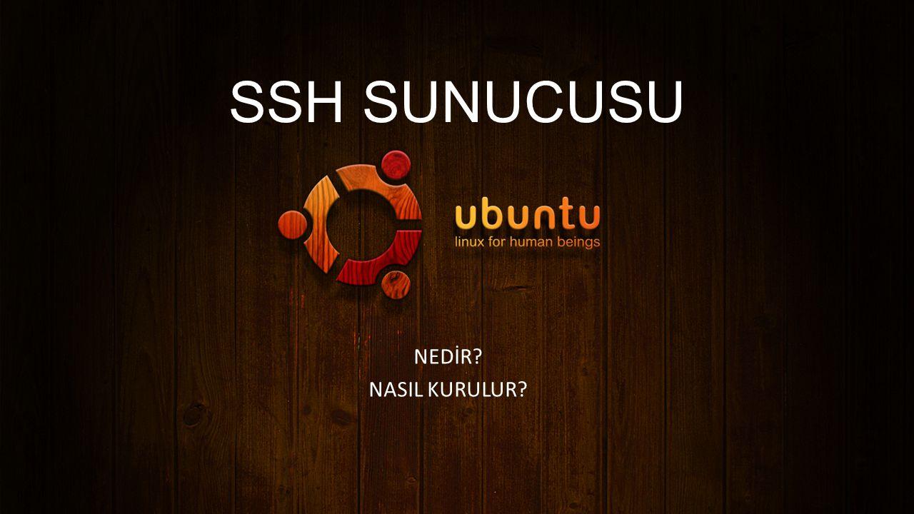 SSH sunucusu: SSH(Secure Shell/Güvenli Kabuk) ağ üzerinden başka bilgisayarlara erişim sağlamak, uzak bir bilgisayarda komutlar çalıştırmak ve bir bilgisayardan diğerine dosya transferi amaçlı geliştirilmiş bir protokoldür.