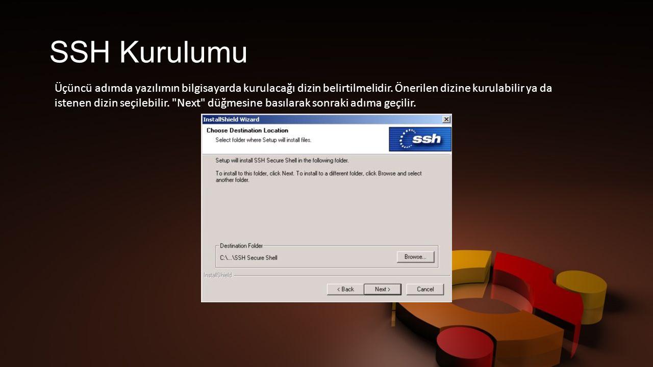 SSH Kurulumu Üçüncü adımda yazılımın bilgisayarda kurulacağı dizin belirtilmelidir.