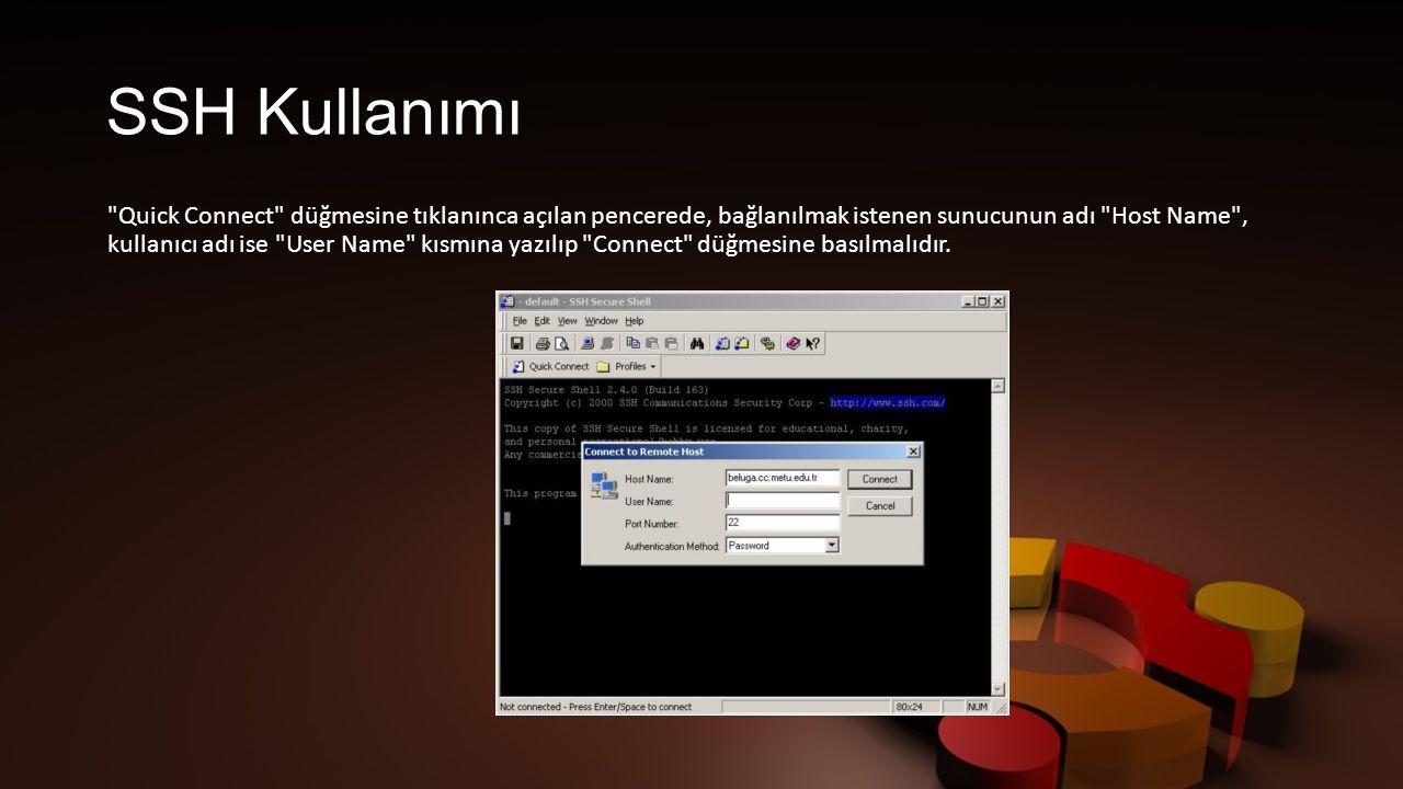 SSH Kullanımı Quick Connect düğmesine tıklanınca açılan pencerede, bağlanılmak istenen sunucunun adı Host Name , kullanıcı adı ise User Name kısmına yazılıp Connect düğmesine basılmalıdır.