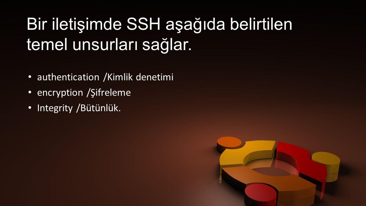 Bir iletişimde SSH aşağıda belirtilen temel unsurları sağlar.