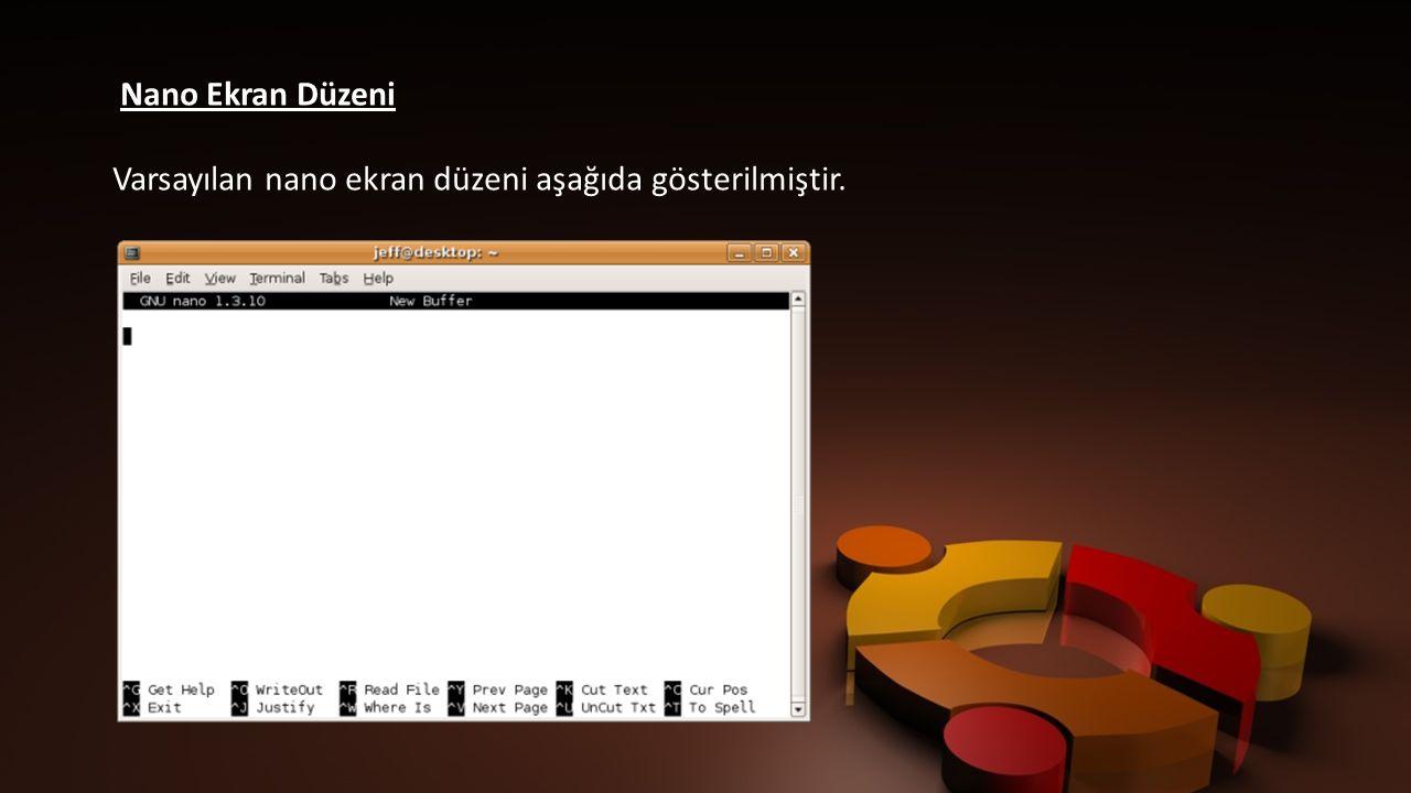 Nano Ekran Düzeni Varsayılan nano ekran düzeni aşağıda gösterilmiştir.
