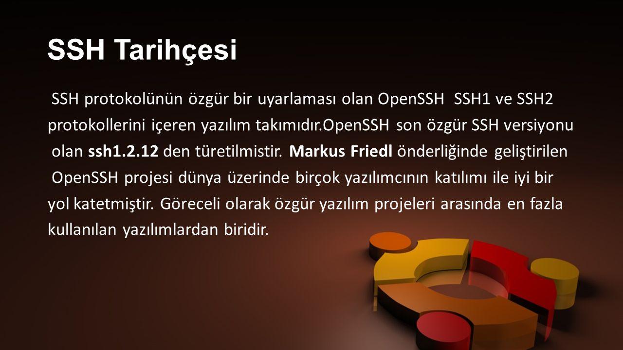 SSH protokolünün özgür bir uyarlaması olan OpenSSH SSH1 ve SSH2 protokollerini içeren yazılım takımıdır.OpenSSH son özgür SSH versiyonu olan ssh1.2.12 den türetilmistir.