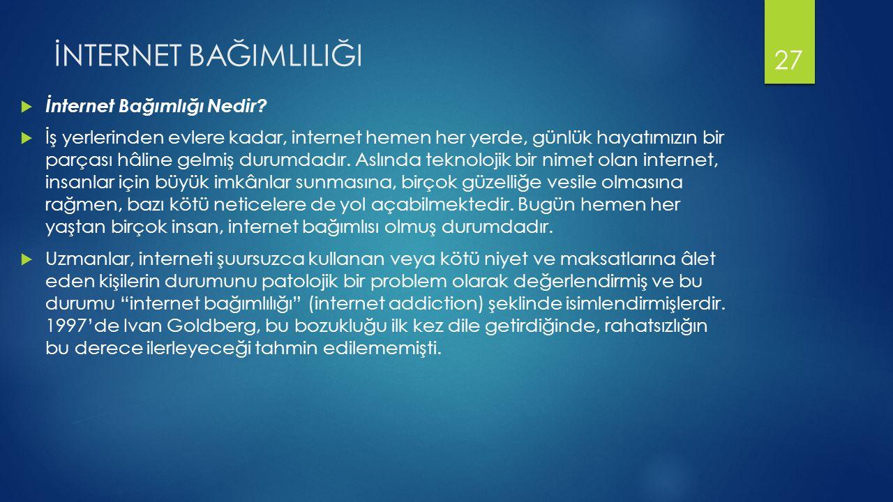 İNTERNET BAĞIMLILIĞI  İnternet Bağımlığı Nedir.