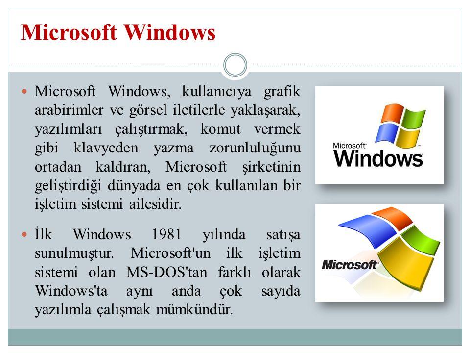 Microsoft Windows, kullanıcıya grafik arabirimler ve görsel iletilerle yaklaşarak, yazılımları çalıştırmak, komut vermek gibi klavyeden yazma zorunluluğunu ortadan kaldıran, Microsoft şirketinin geliştirdiği dünyada en çok kullanılan bir işletim sistemi ailesidir.