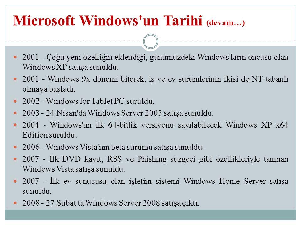 2001 - Çoğu yeni özelliğin eklendiği, günümüzdeki Windows ların öncüsü olan Windows XP satışa sunuldu.
