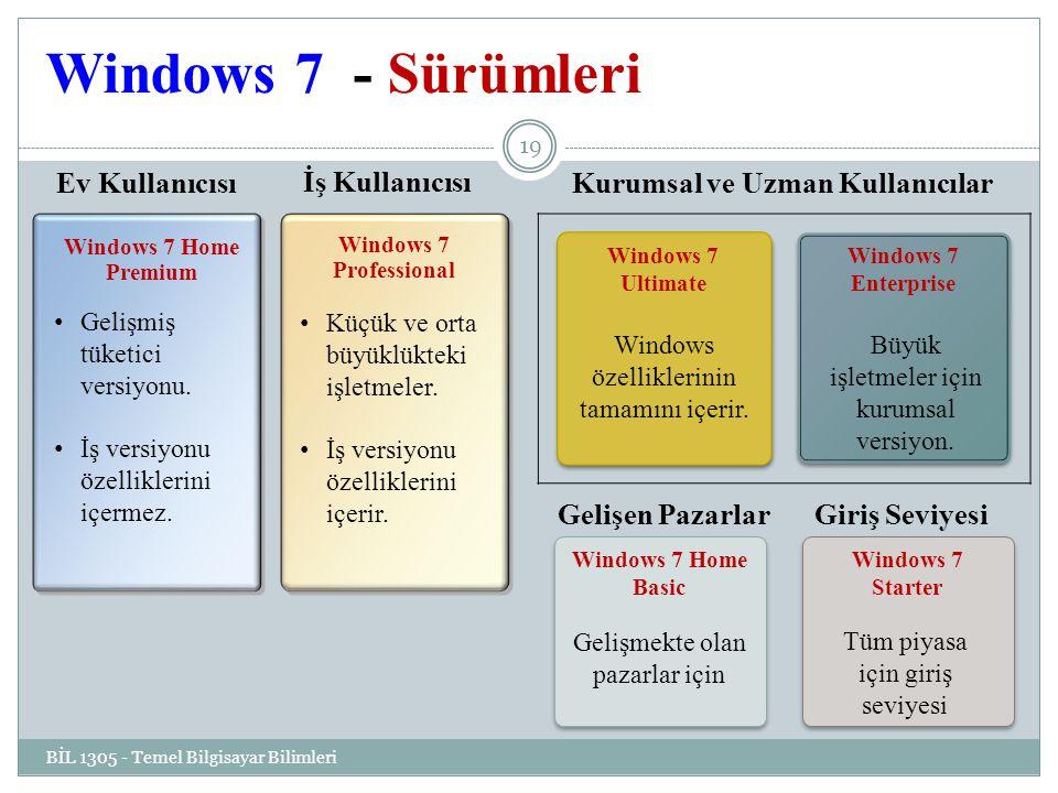 Windows 7 - Sürümleri BİL 1305 - Temel Bilgisayar Bilimleri 19 Windows 7 Home Premium Windows 7 Professional Windows 7 Home Basic Gelişmekte olan pazarlar için Windows 7 Home Basic Gelişmekte olan pazarlar için Windows 7 Starter Gelişmiş tüketici versiyonu.