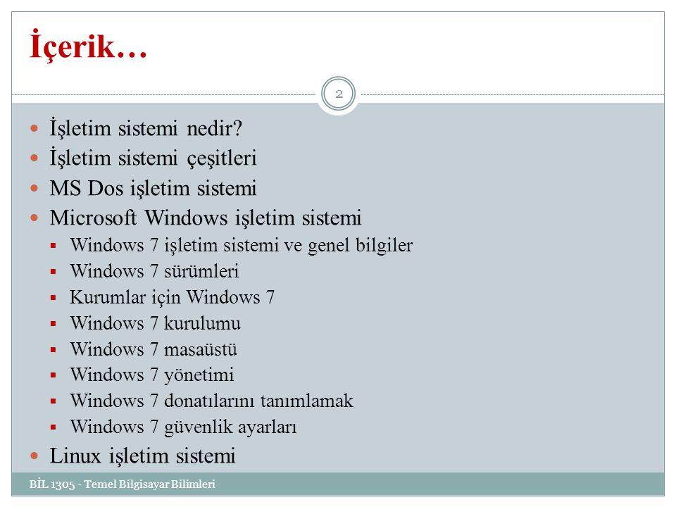 Windows 7 – Pencere Bileşenleri (devam…) BİL 1305 - Temel Bilgisayar Bilimleri 53 Basamaklı Pencereler
