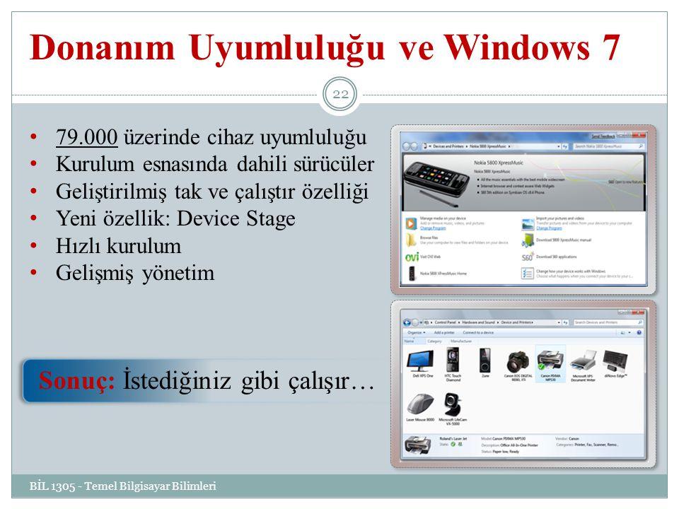 Donanım Uyumluluğu ve Windows 7 BİL 1305 - Temel Bilgisayar Bilimleri 22 79.000 üzerinde cihaz uyumluluğu Kurulum esnasında dahili sürücüler Geliştirilmiş tak ve çalıştır özelliği Yeni özellik: Device Stage Hızlı kurulum Gelişmiş yönetim Sonuç: İstediğiniz gibi çalışır…