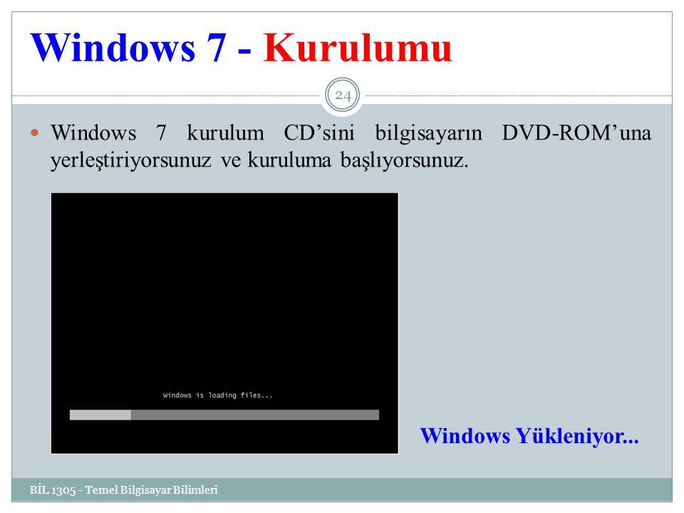 Windows 7 - Kurulumu BİL 1305 - Temel Bilgisayar Bilimleri 24 Windows 7 kurulum CD'sini bilgisayarın DVD-ROM'una yerleştiriyorsunuz ve kuruluma başlıyorsunuz.