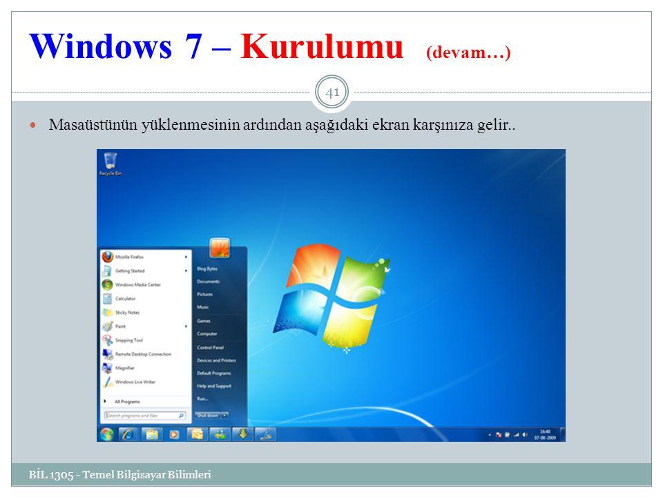 Windows 7 – Kurulumu (devam…) BİL 1305 - Temel Bilgisayar Bilimleri 41 Masaüstünün yüklenmesinin ardından aşağıdaki ekran karşınıza gelir..