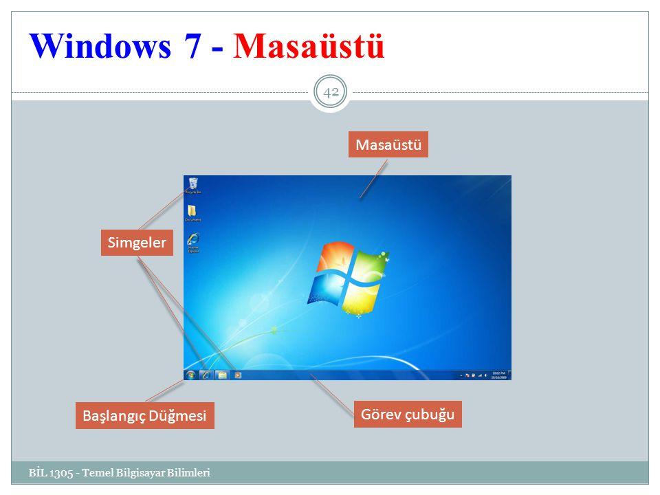 Windows 7 - Masaüstü BİL 1305 - Temel Bilgisayar Bilimleri 42 Masaüstü Görev çubuğu Simgeler Başlangıç Düğmesi