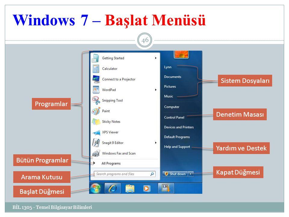 Windows 7 – Başlat Menüsü BİL 1305 - Temel Bilgisayar Bilimleri 46 Programlar Denetim Masası Sistem Dosyaları Yardım ve Destek Bütün Programlar Kapat Düğmesi Arama Kutusu Başlat Düğmesi