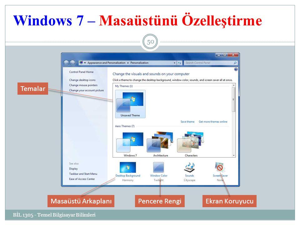 Windows 7 – Masaüstünü Özelleştirme BİL 1305 - Temel Bilgisayar Bilimleri 50 Ekran KoruyucuPencere RengiMasaüstü Arkaplanı Temalar