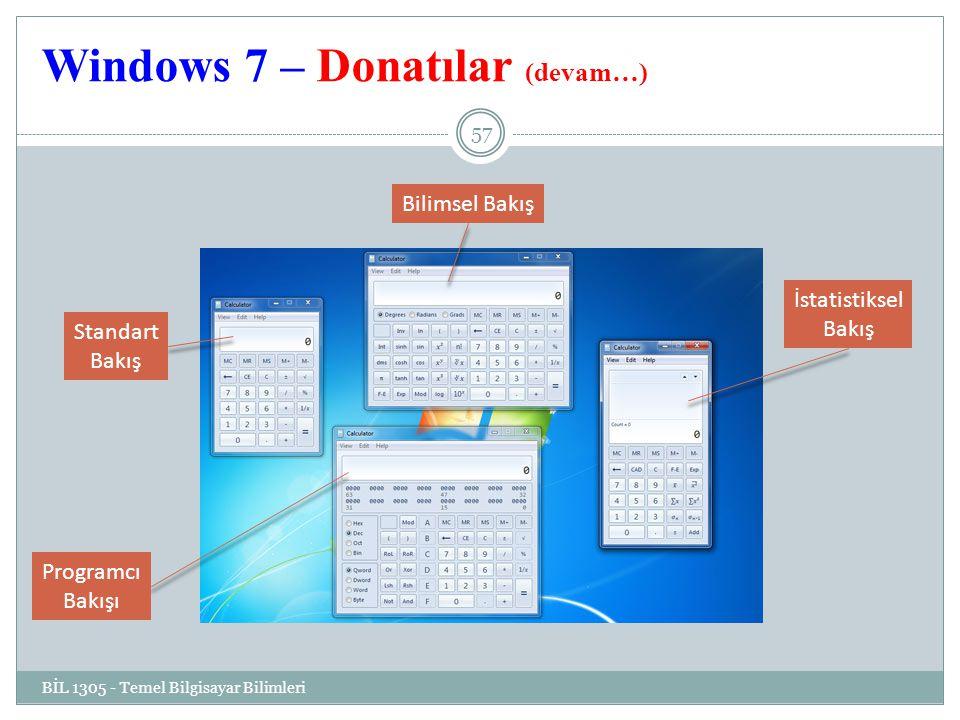 Windows 7 – Donatılar (devam…) BİL 1305 - Temel Bilgisayar Bilimleri 57 Standart Bakış Programcı Bakışı Bilimsel Bakış İstatistiksel Bakış