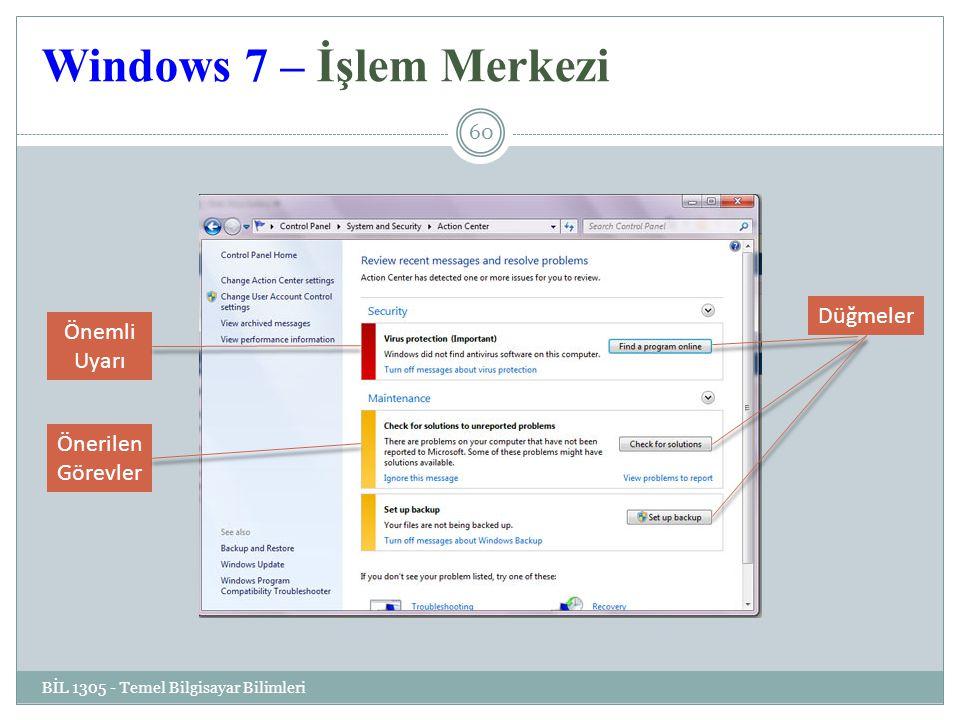 Windows 7 – İşlem Merkezi BİL 1305 - Temel Bilgisayar Bilimleri 60 Önemli Uyarı Önerilen Görevler Düğmeler
