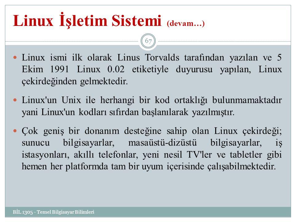 Linux İşletim Sistemi (devam…) BİL 1305 - Temel Bilgisayar Bilimleri 67 Linux ismi ilk olarak Linus Torvalds tarafından yazılan ve 5 Ekim 1991 Linux 0.02 etiketiyle duyurusu yapılan, Linux çekirdeğinden gelmektedir.