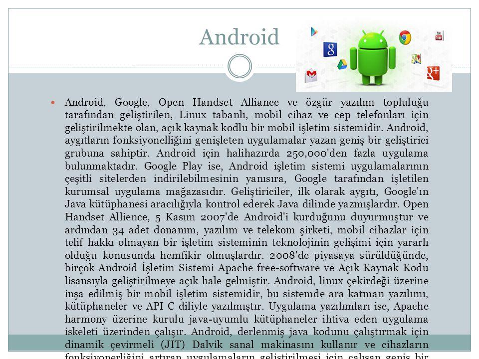 Android, Google, Open Handset Alliance ve özgür yazılım topluluğu tarafından geliştirilen, Linux tabanlı, mobil cihaz ve cep telefonları için geliştirilmekte olan, açık kaynak kodlu bir mobil işletim sistemidir.