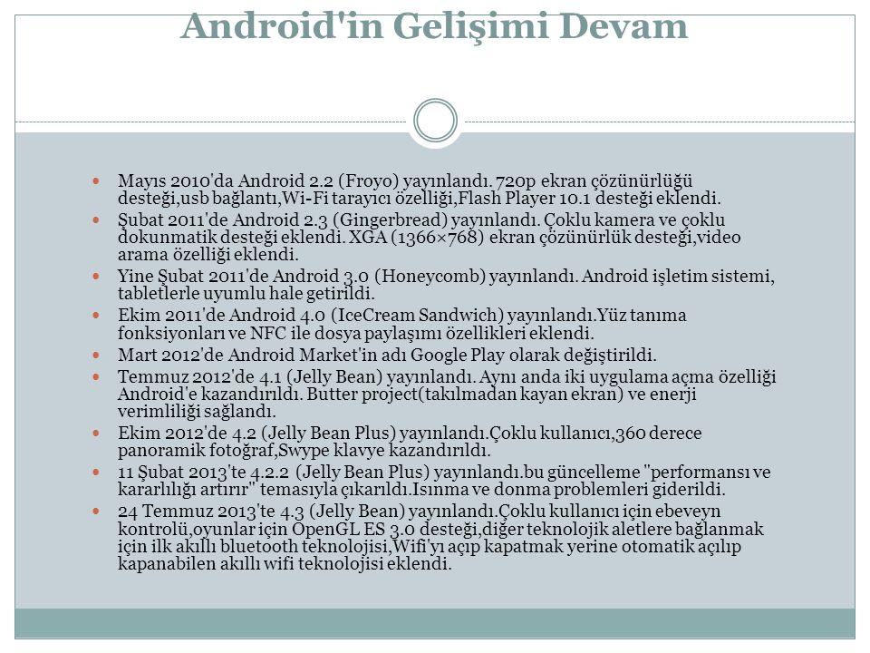 Mayıs 2010 da Android 2.2 (Froyo) yayınlandı.