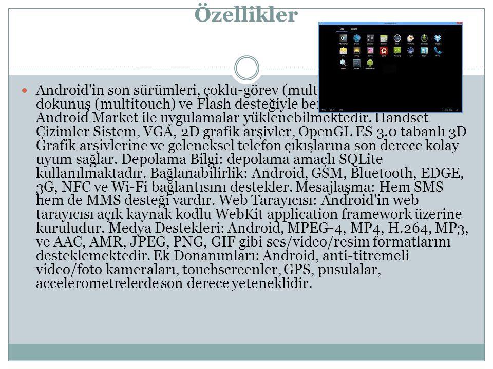 Android in son sürümleri, çoklu-görev (multitasking), çoklu- dokunuş (multitouch) ve Flash desteğiyle beraber gelmektedir.