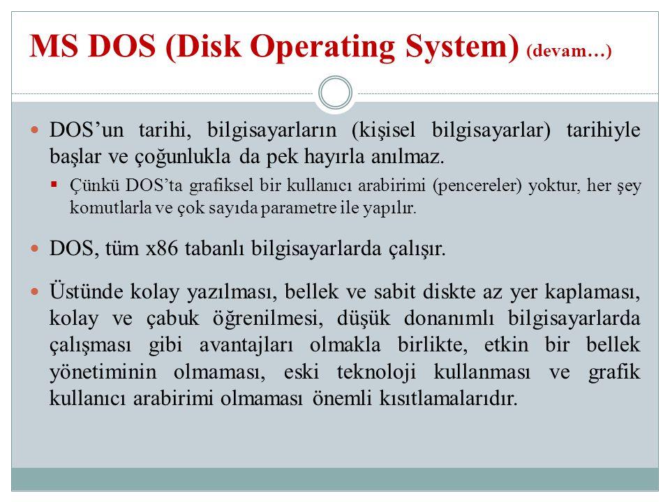 DOS'un tarihi, bilgisayarların (kişisel bilgisayarlar) tarihiyle başlar ve çoğunlukla da pek hayırla anılmaz.