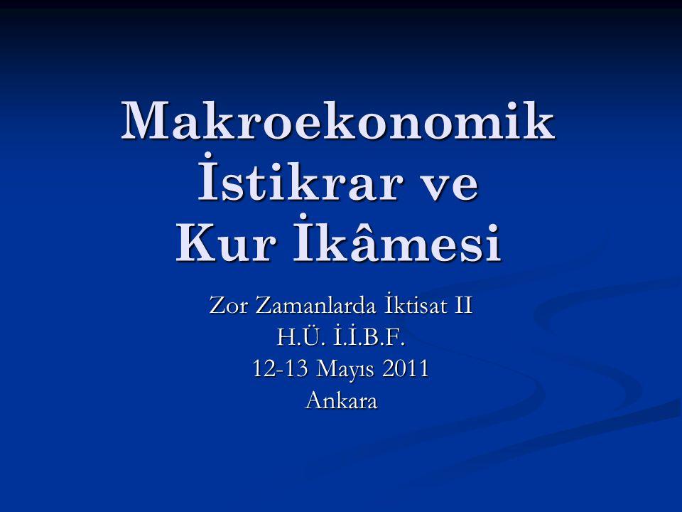 Makroekonomik İstikrar ve Kur İkâmesi Zor Zamanlarda İktisat II H.Ü.
