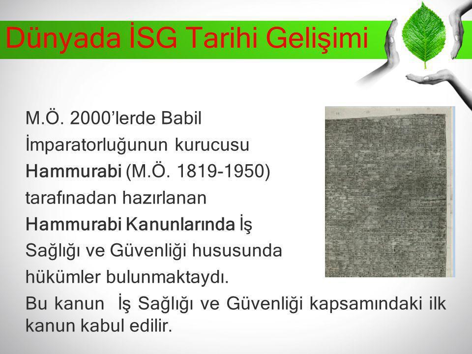 Dünyada İSG Tarihi Gelişimi M.Ö. 2000'lerde Babil İmparatorluğunun kurucusu Hammurabi (M.Ö. 1819-1950) tarafınadan hazırlanan Hammurabi Kanunlarında İ
