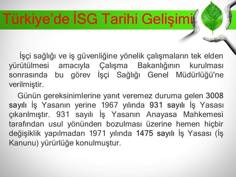 Türkiye'de İSG Tarihi Gelişimi İşçi sağlığı ve iş güvenliğine yönelik çalışmaların tek elden yürütülmesi amacıyla Çalışma Bakanlığının kurulması sonra