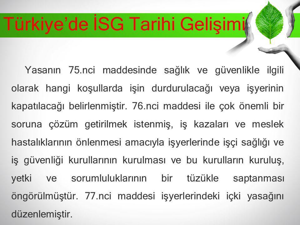 Türkiye'de İSG Tarihi Gelişimi Yasanın 75.nci maddesinde sağlık ve güvenlikle ilgili olarak hangi koşullarda işin durdurulacağı veya işyerinin kapatıl