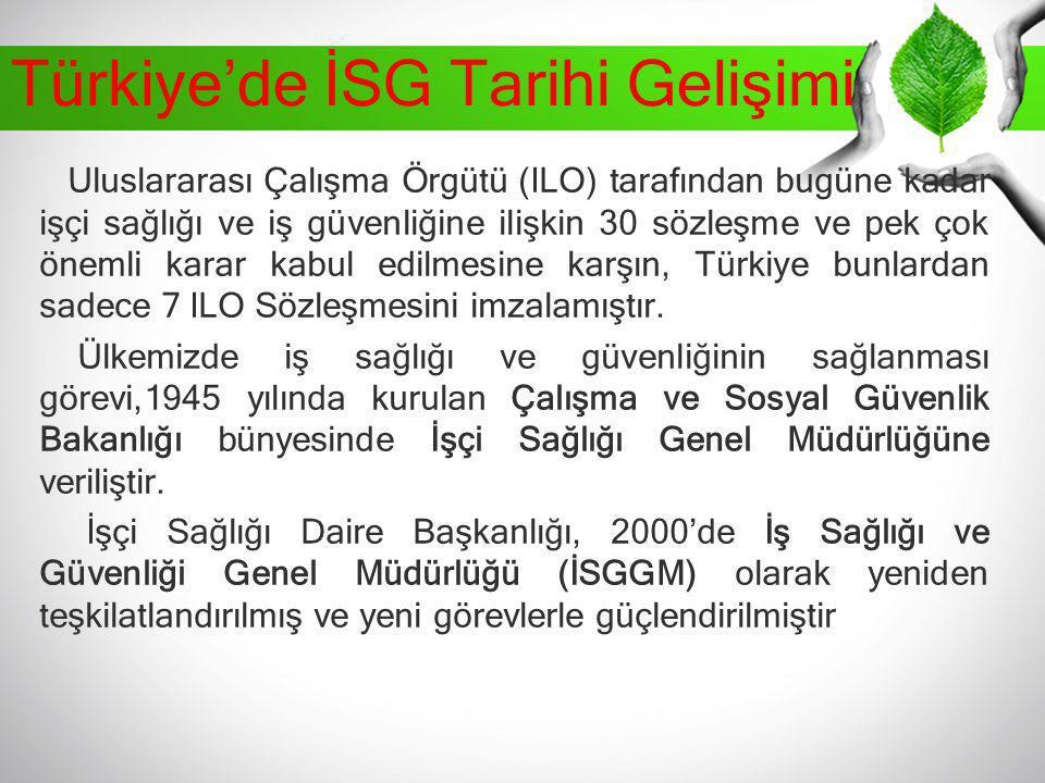 Türkiye'de İSG Tarihi Gelişimi Uluslararası Çalışma Örgütü (ILO) tarafından bugüne kadar işçi sağlığı ve iş güvenliğine ilişkin 30 sözleşme ve pek çok