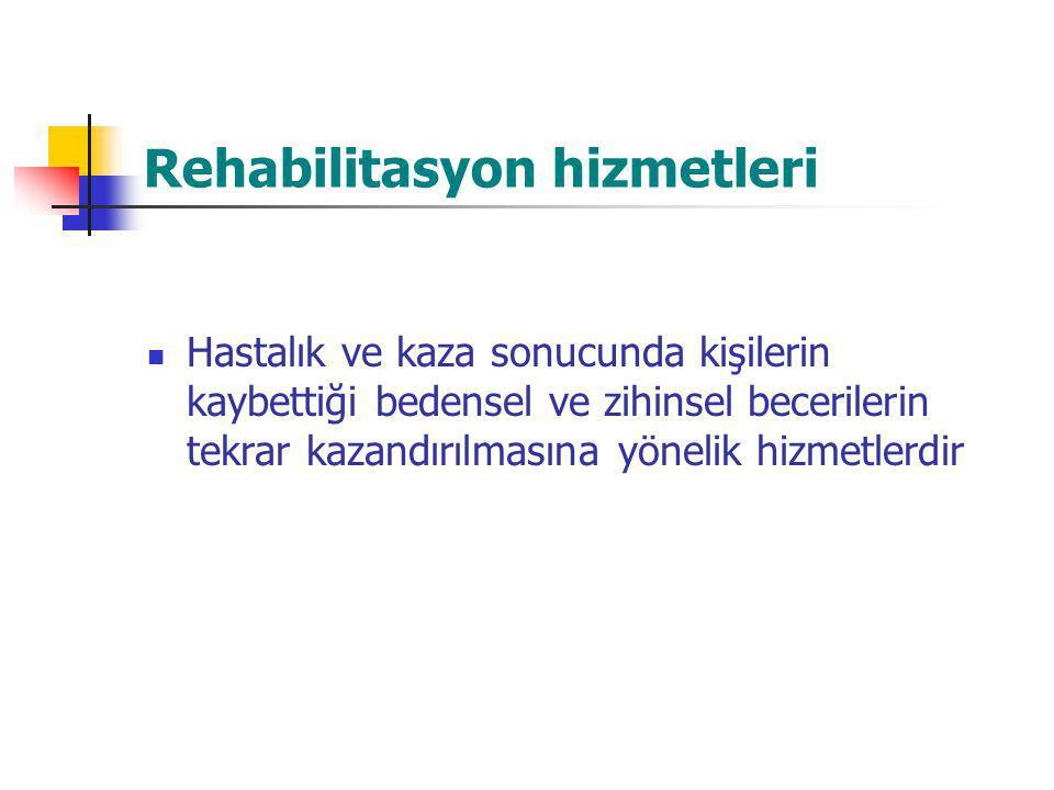 Rehabilitasyon hizmetleri Hastalık ve kaza sonucunda kişilerin kaybettiği bedensel ve zihinsel becerilerin tekrar kazandırılmasına yönelik hizmetlerdi