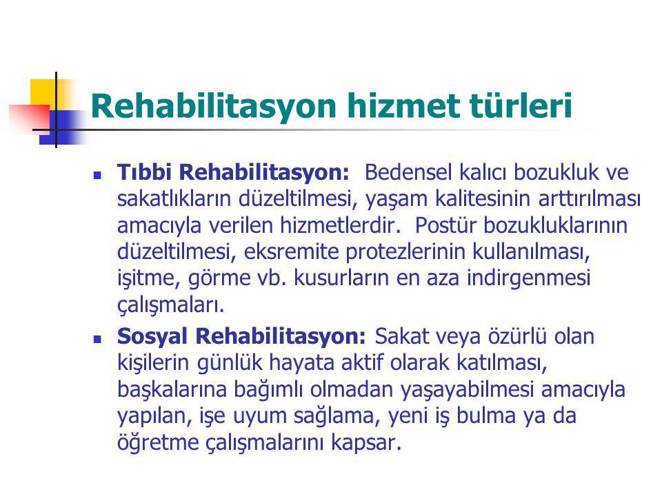 Rehabilitasyon hizmet türleri Tıbbi Rehabilitasyon: Bedensel kalıcı bozukluk ve sakatlıkların düzeltilmesi, yaşam kalitesinin arttırılması amacıyla ve
