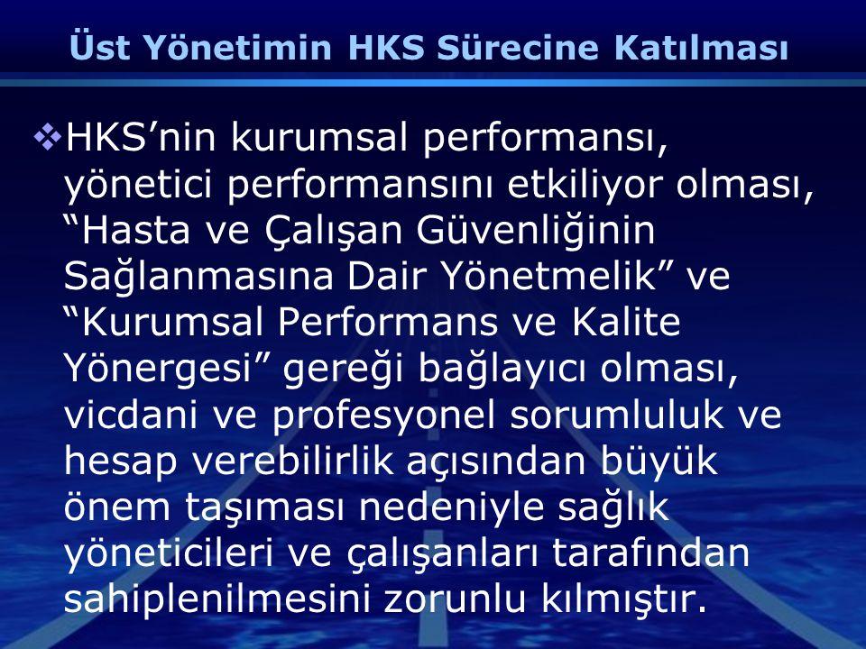 """Üst Yönetimin HKS Sürecine Katılması  HKS'nin kurumsal performansı, yönetici performansını etkiliyor olması, """"Hasta ve Çalışan Güvenliğinin Sağlanmas"""
