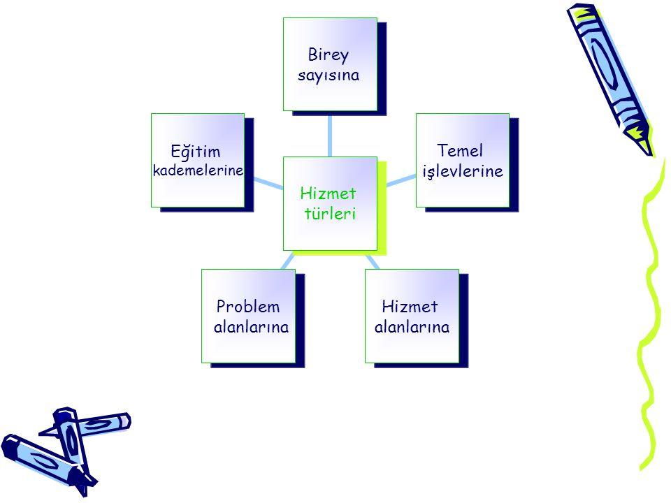 Hizmet türleri Birey sayısına Temel işlevlerine Hizmet alanlarına Problem alanlarına Eğitim kademelerine