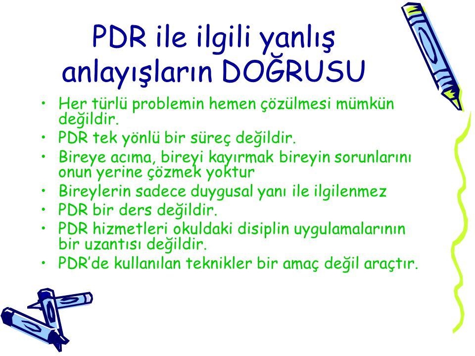 PDR ile ilgili yanlış anlayışların DOĞRUSU Her türlü problemin hemen çözülmesi mümkün değildir.