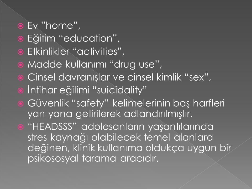""" Ev """"home"""",  Eğitim """"education"""",  Etkinlikler """"activities"""",  Madde kullanımı """"drug use"""",  Cinsel davranışlar ve cinsel kimlik """"sex"""",  İntihar eğ"""