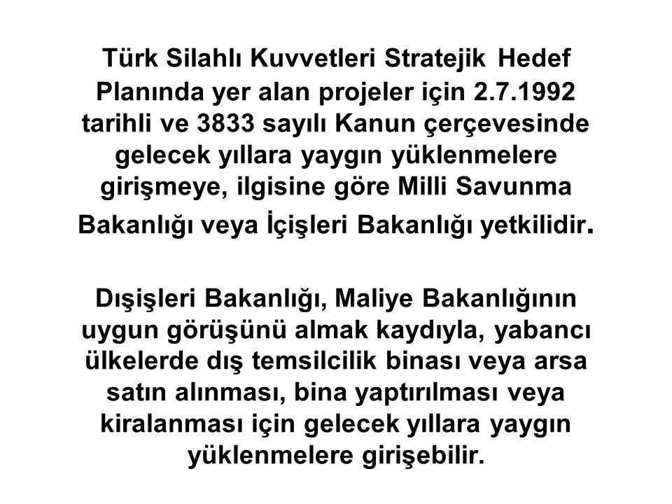 Türk Silahlı Kuvvetleri Stratejik Hedef Planında yer alan projeler için 2.7.1992 tarihli ve 3833 sayılı Kanun çerçevesinde gelecek yıllara yaygın yükl
