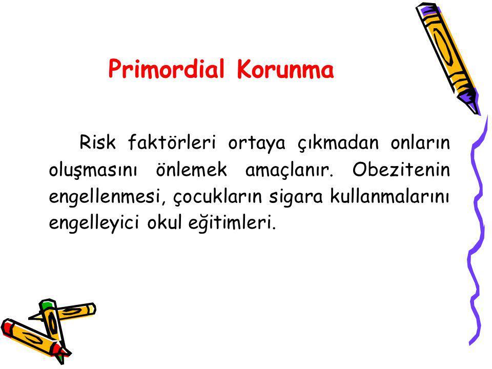 Primordial Korunma Risk faktörleri ortaya çıkmadan onların oluşmasını önlemek amaçlanır. Obezitenin engellenmesi, çocukların sigara kullanmalarını eng