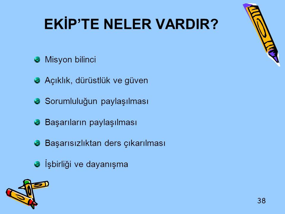 EKİP'TE NELER VARDIR.