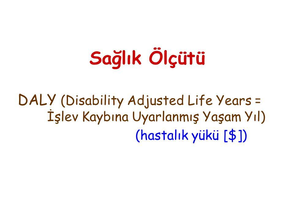 Sağlık Ölçütü DALY (Disability Adjusted Life Years = İşlev Kaybına Uyarlanmış Yaşam Yıl) (hastalık yükü [$])