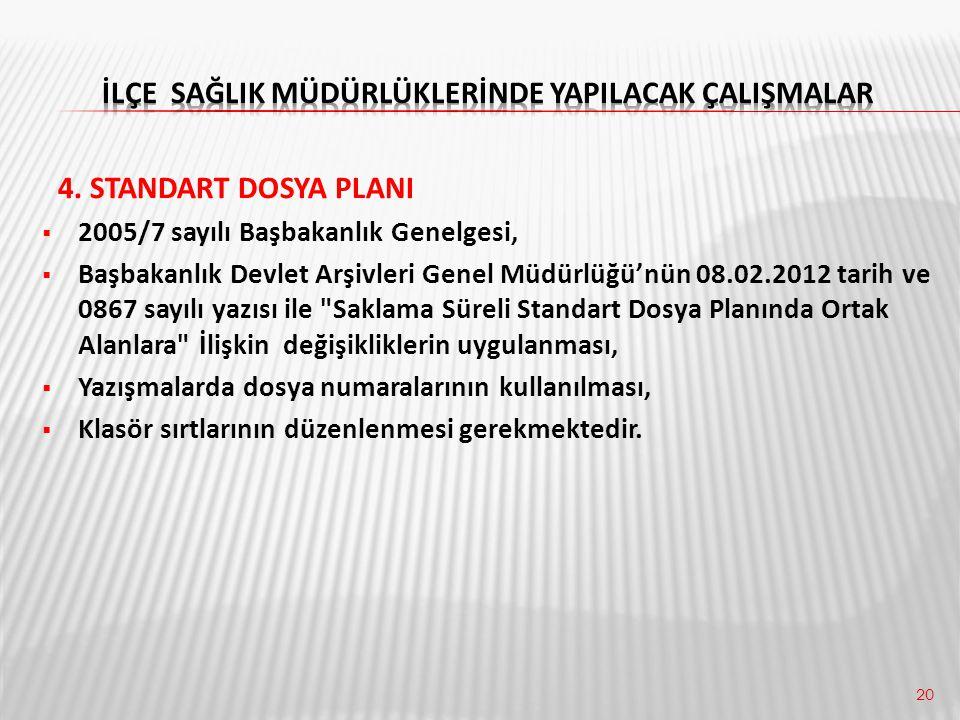 20 4. STANDART DOSYA PLANI  2005/7 sayılı Başbakanlık Genelgesi,  Başbakanlık Devlet Arşivleri Genel Müdürlüğü'nün 08.02.2012 tarih ve 0867 sayılı y