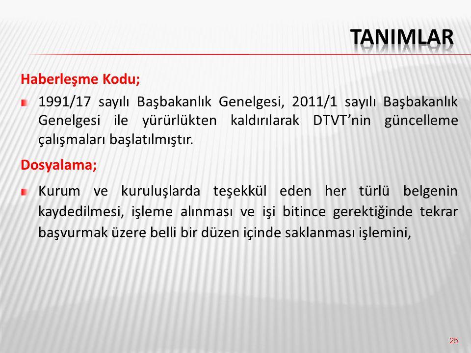 25 Haberleşme Kodu; 1991/17 sayılı Başbakanlık Genelgesi, 2011/1 sayılı Başbakanlık Genelgesi ile yürürlükten kaldırılarak DTVT'nin güncelleme çalışma