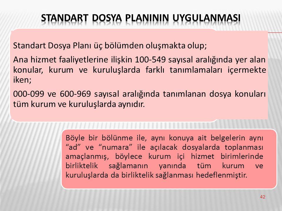 42 Standart Dosya Planı üç bölümden oluşmakta olup; Ana hizmet faaliyetlerine ilişkin 100-549 sayısal aralığında yer alan konular, kurum ve kuruluşlar