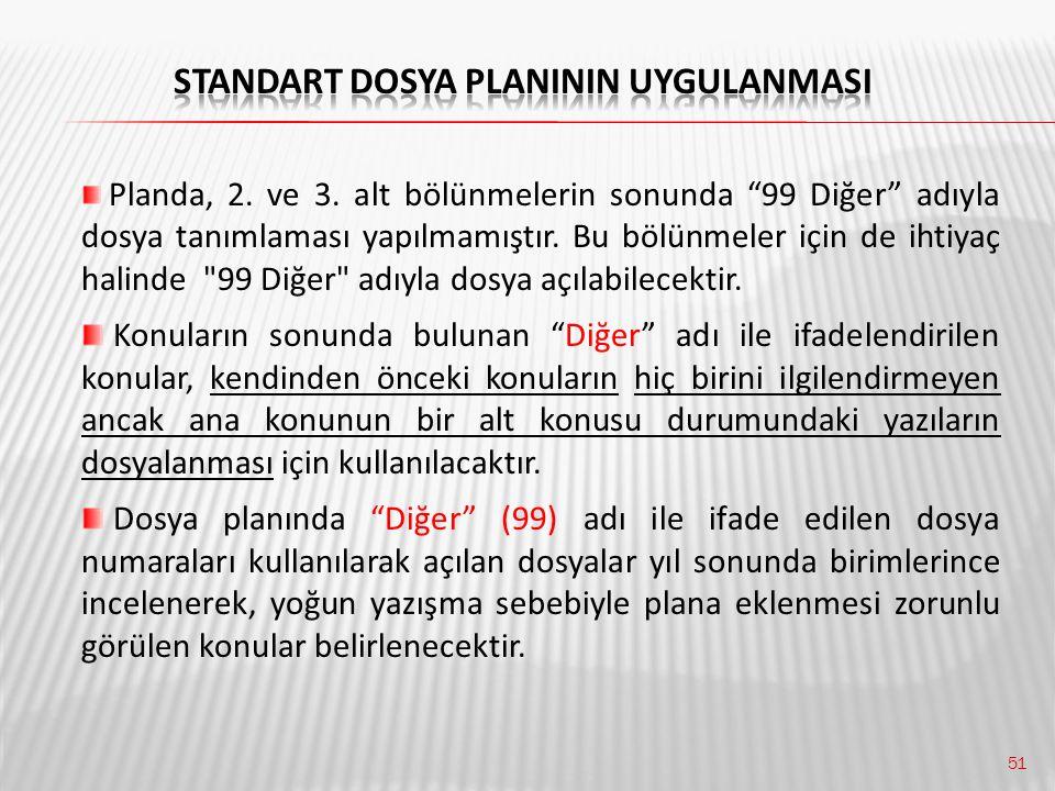 """51 Planda, 2. ve 3. alt bölünmelerin sonunda """"99 Diğer"""" adıyla dosya tanımlaması yapılmamıştır. Bu bölünmeler için de ihtiyaç halinde"""