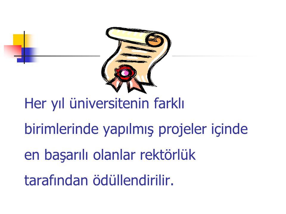 Her yıl üniversitenin farklı birimlerinde yapılmış projeler içinde en başarılı olanlar rektörlük tarafından ödüllendirilir.