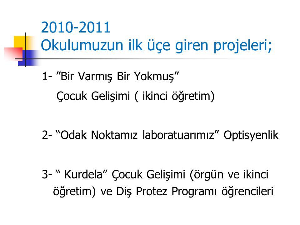 2010-2011 Okulumuzun ilk üçe giren projeleri; 1- Bir Varmış Bir Yokmuş Çocuk Gelişimi ( ikinci öğretim) 2- Odak Noktamız laboratuarımız Optisyenlik 3- Kurdela Çocuk Gelişimi (örgün ve ikinci öğretim) ve Diş Protez Programı öğrencileri