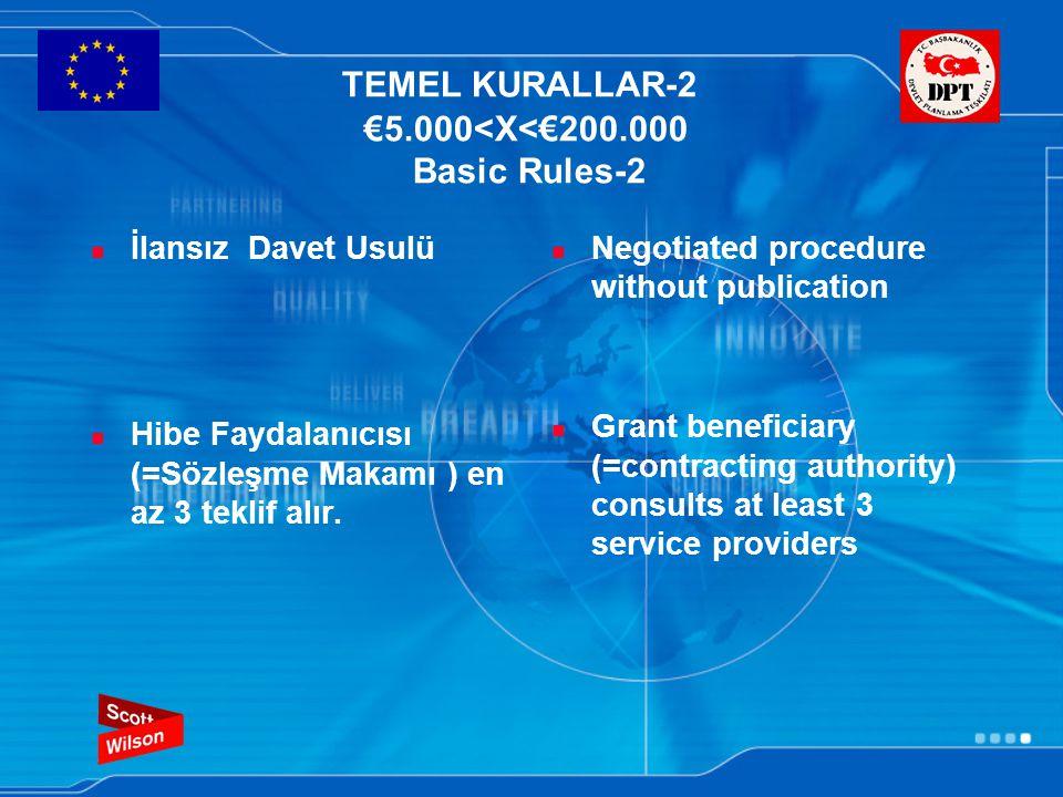 TEMEL KURALLAR-2 €5.000<X<€200.000 Basic Rules-2 İlansız Davet Usulü Hibe Faydalanıcısı (=Sözleşme Makamı ) en az 3 teklif alır.