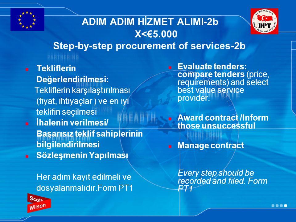 ADIM ADIM HİZMET ALIMI-2b X<€5.000 Step-by-step procurement of services-2b Tekliflerin Değerlendirilmesi: Tekliflerin karşılaştırılması (fiyat, ihtiyaçlar ) ve en iyi teklifin seçilmesi İhalenin verilmesi/ Başarısız teklif sahiplerinin bilgilendirilmesi Sözleşmenin Yapılması Her adım kayıt edilmeli ve dosyalanmalıdır.Form PT1 Evaluate tenders: compare tenders (price, requirements) and select best value service provider.