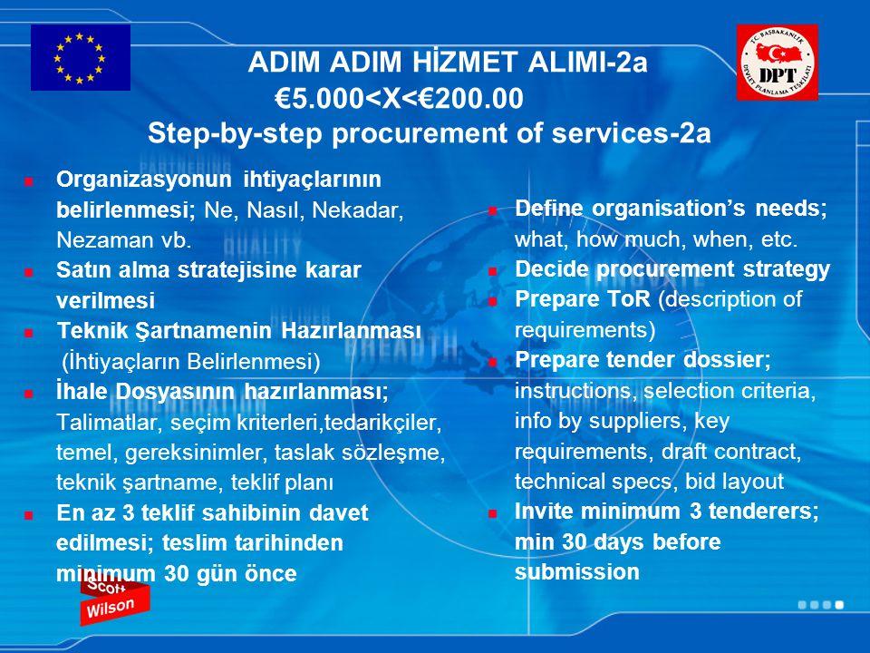 ADIM ADIM HİZMET ALIMI-2b €5.000<X<€200.000 Step-by-step procurement of services-2b Yazılı tekliflerin alınması Tekliflerin değerlendirilmesi; Teknik şartnameye göre tekliflerin karşılaştırılması (teknik olarak uygun veya değil) ve en düşük fiyatı veren teklifin seçimi İhalenin verilmesi/ Başarısız teklif sahiplerinin bilgilendirilmesi Sözleşmenin Yapılması Her adım kayıt edilmeli ve dosyalanmalıdır.Form PT1 Obtain tenders in writing Evaluate tenders: compare tenders with the technical specifications (technically compliant or not) and select the tender with the lowest price Award contract/Inform those unsuccessful Manage contract Every step should be recorded and filed.