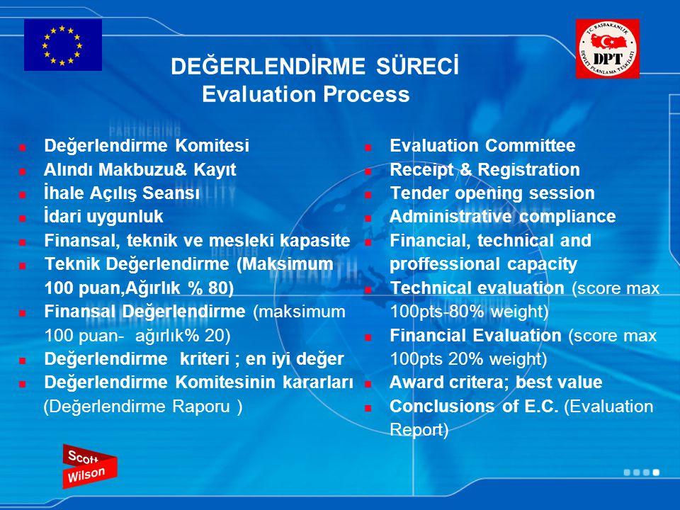 DEĞERLENDİRME SÜRECİ Evaluation Process Değerlendirme Komitesi Alındı Makbuzu& Kayıt İhale Açılış Seansı İdari uygunluk Finansal, teknik ve mesleki kapasite Teknik Değerlendirme (Maksimum 100 puan,Ağırlık % 80) Finansal Değerlendirme (maksimum 100 puan- ağırlık% 20) Değerlendirme kriteri ; en iyi değer Değerlendirme Komitesinin kararları (Değerlendirme Raporu ) Evaluation Committee Receipt & Registration Tender opening session Administrative compliance Financial, technical and proffessional capacity Technical evaluation (score max 100pts-80% weight) Financial Evaluation (score max 100pts 20% weight) Award critera; best value Conclusions of E.C.